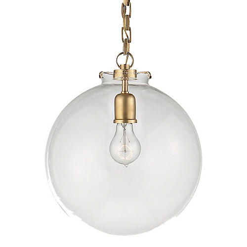 Katie Globe Pendant, Antiqued Brass