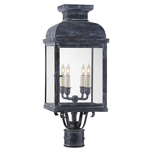 Suffork Outdoor Post Lantern, Zinc