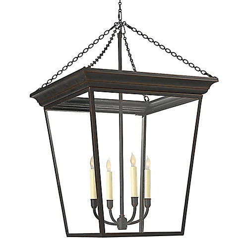 Large Cornice 4-Light Lantern, Bronze