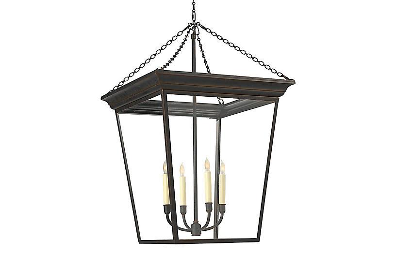 Large Cornice 4-Light Lantern, Bronze