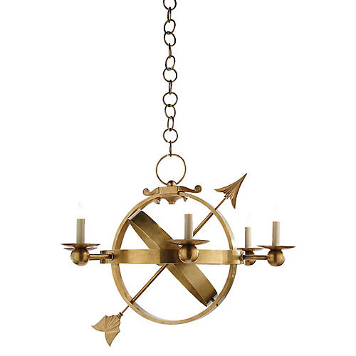Armillary Sphere Chandelier, Brass