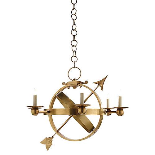 Armillary Sphere Chandelier, Brass