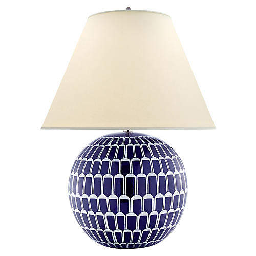 Brewster Table Lamp, Blue/White
