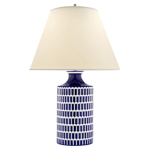 Wells Table Lamp, Blue/White
