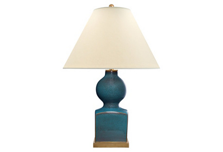 Huping Gourd Vase Table Lamp, Oslo Blue