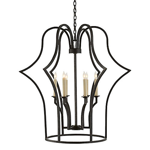 Hollywood Regency Frame Chandelier, Iron