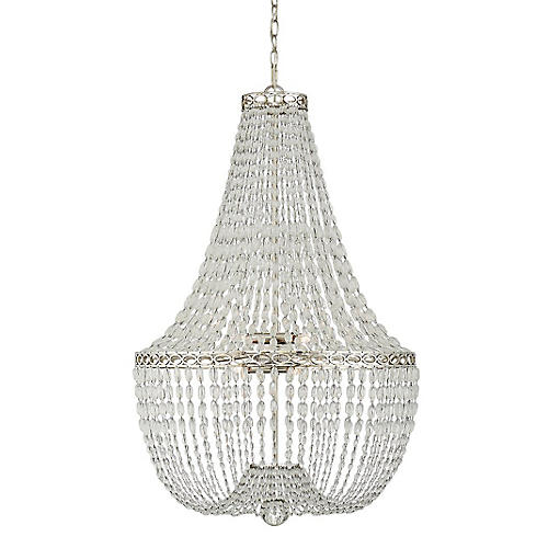 Linfort Basket Form Chandelier, Nickel