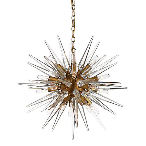Quincy Small Sputnik Pendant, Brass