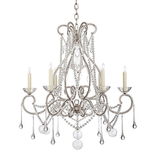Gloster Large Tear Chandelier, Silver