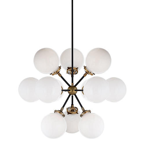 Bistro Small Round Chandelier, Black