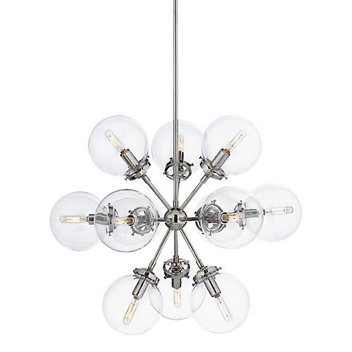 Small Bistro Chandelier, Polished Nickel