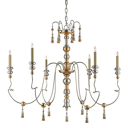 Michele Medium Chandelier, French Gold