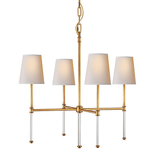 Camille Small Chandelier, Antiqued Brass