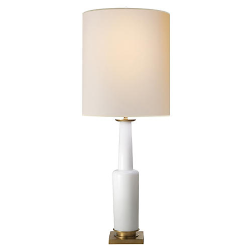 Fiona Small Table Lamp, White Glass