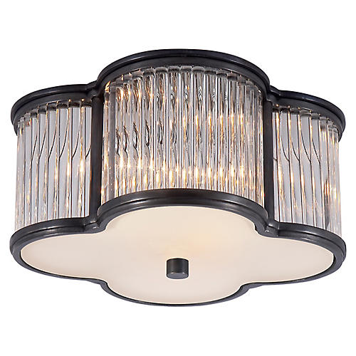 Basil Flush Mount, Gunmetal/Clear