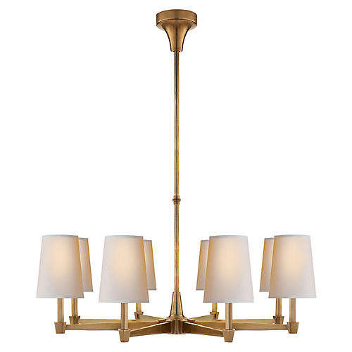 Caron Chandelier, Antiqued Brass