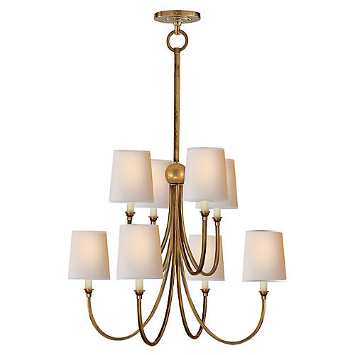 Reed Two-Tier Chandelier, Antiqued Brass