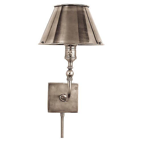 Swivel Head Wall Lamp, Antique Nickel