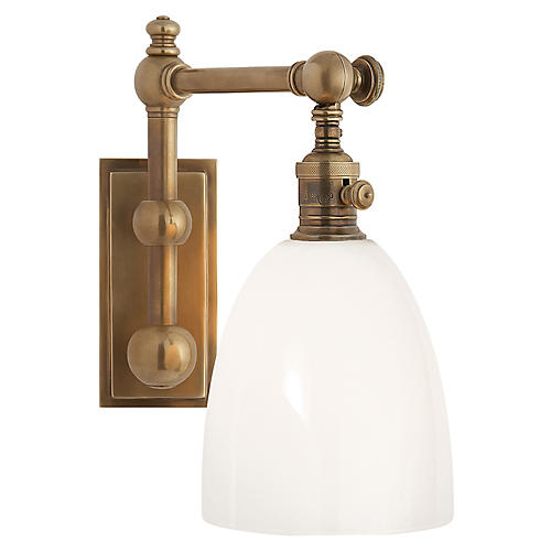 Pimlico Single Sconce, Antiqued Brass