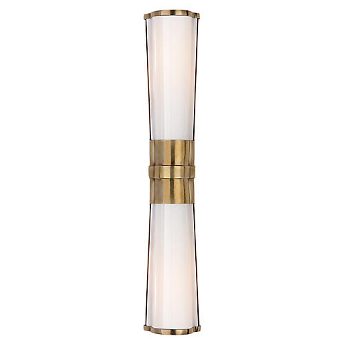 Carew Linear Sconce, Antiqued Brass