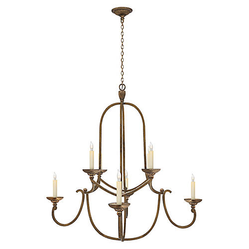 Flemish Two-Tier Chandelier, Gilded Iron