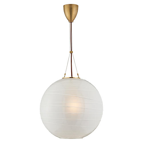 Hailey Round Pendant, Natural Brass