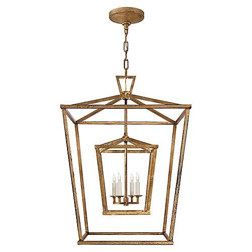 Darlana Large Double Cage Lantern, Gild