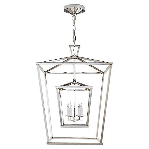 Darlana Large Double Cage Lantern, Nickel