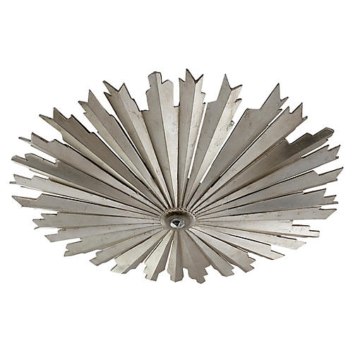 Claymore Flush Mount, Burnished Silver Leaf