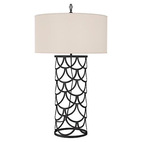 Serena Barrel Table Lamp, Aged Iron
