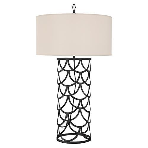Serena Barrel Table Lamp, Aged Iron