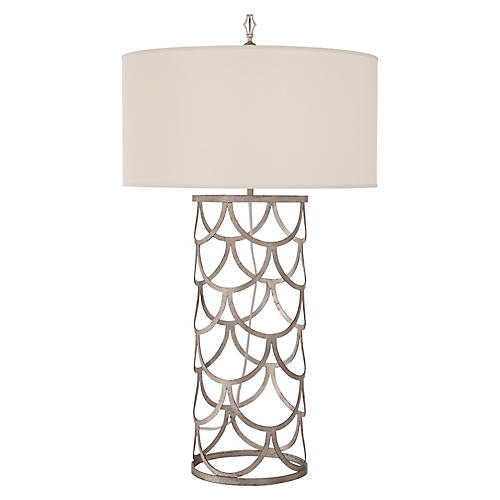 Serena Barrel Table Lamp, Burnished Silver Leaf