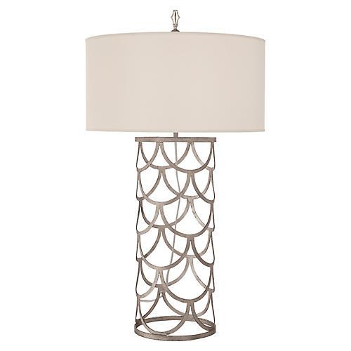 Serena Barrel Table Lamp, Burnished Silver Leaf