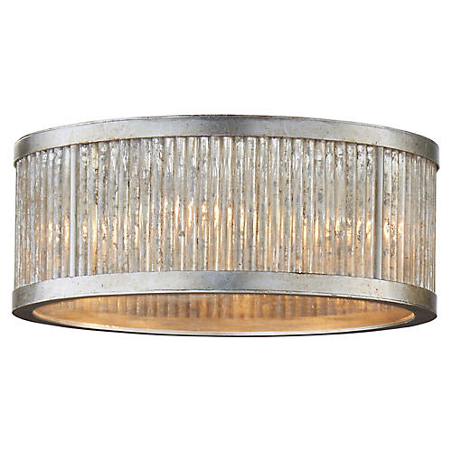 Sophie Flush Mount, Burnished Silver Leaf