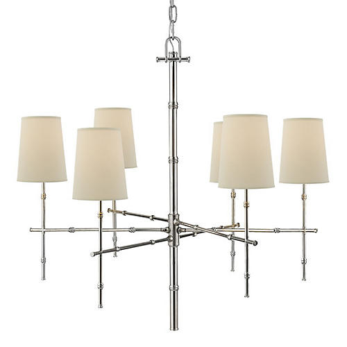 Grenol Medium Bamboo Chandelier, Polished Nickel