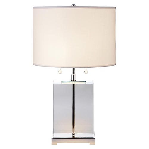 Block Crystal Table Lamp, Clear/Silver