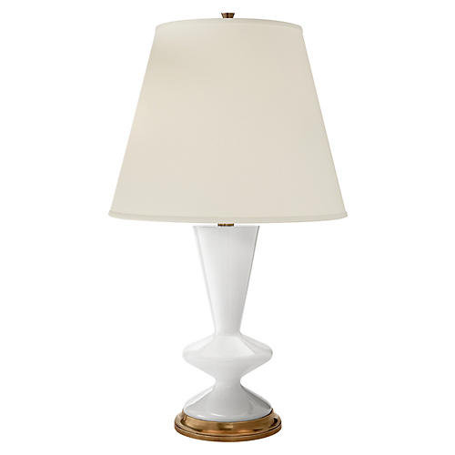 Arpel Table Lamp, White/Brass