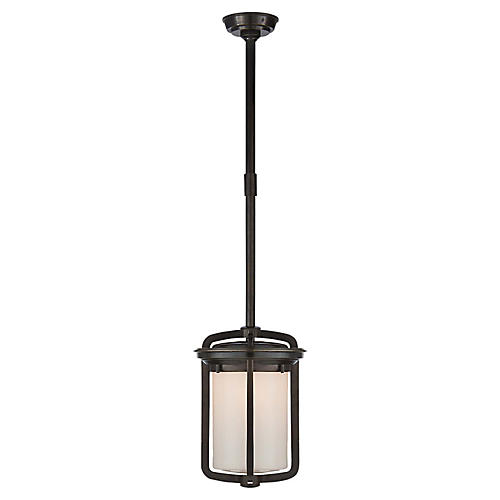 Milton Small Lantern, Bronze/White