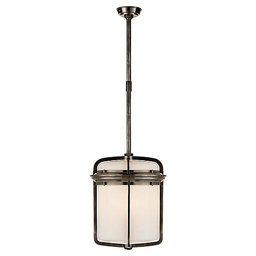 Milton Large Lantern, Bronze/White