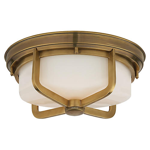Milton Large Flush Mount, Brass/White