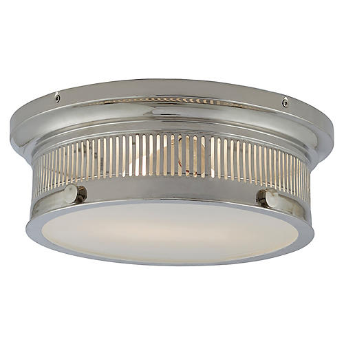 Alderly Small Flush Mount, Nickel/White