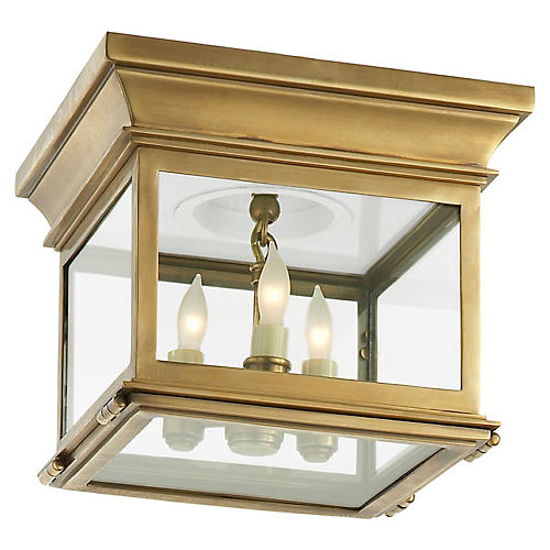 Club Small Flush Mount, Brass/Clear