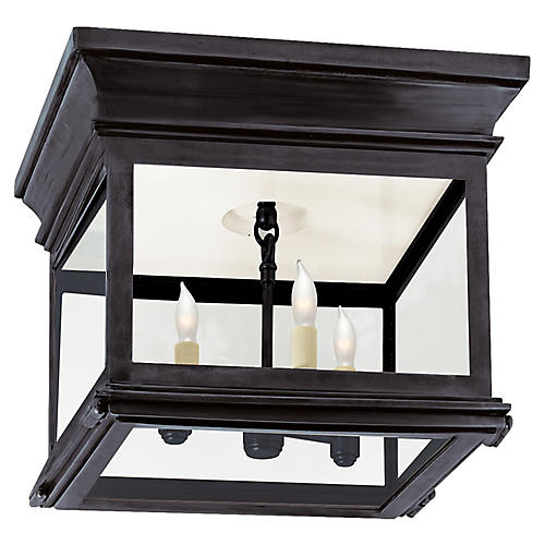 Club Small Flush Mount, Bronze/Clear