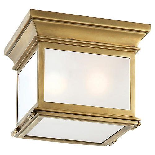 Club Small Flush Mount, Brass/Frosted