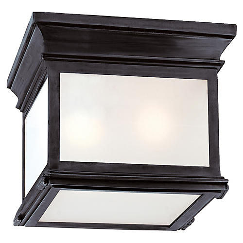 Club Small Flush Mount, Bronze/Frosted