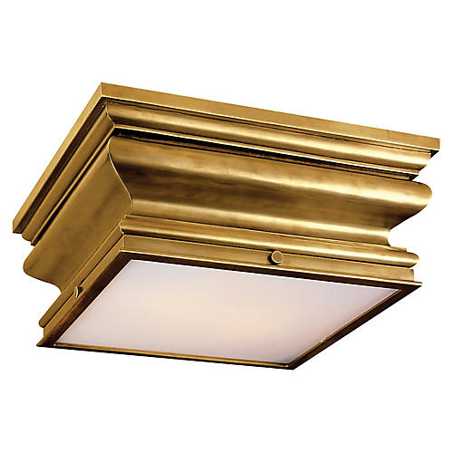 Square Flush Mount, Brass/White