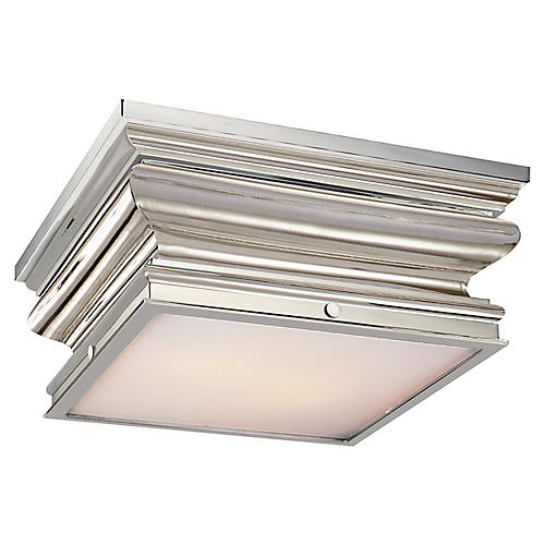 Square Flush Mount, Nickel/White
