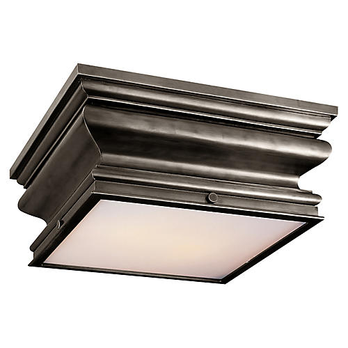 Square Flush Mount, Bronze/White