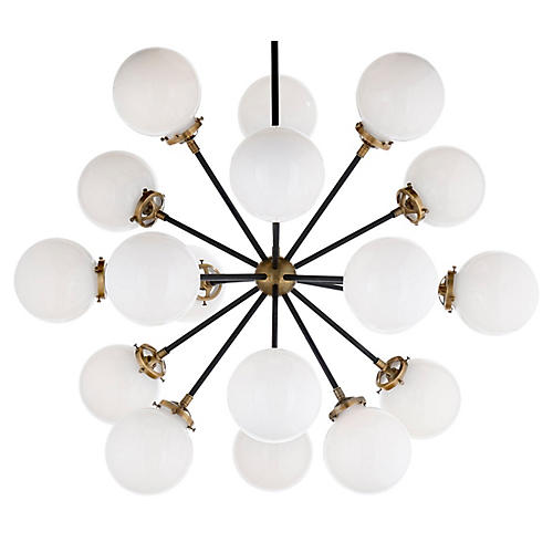 Bistro Medium Chandelier, Brass/White