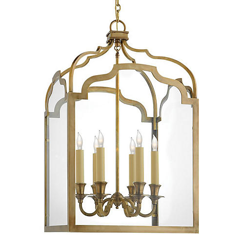 Westminster Medium Lantern, Brass/Clear